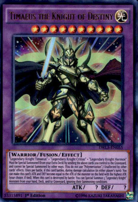 YuGiOh Dragons of Legend: Unleashed Ultra Rare Timaeus the Knight of Destiny DRL3-EN055