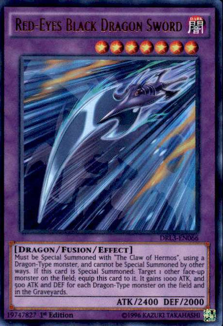 YuGiOh Dragons of Legend: Unleashed Ultra Rare Red-Eyes Black Dragon Sword DRL3-EN066