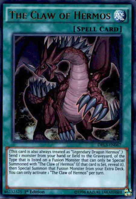 YuGiOh Dragons of Legend: Unleashed Ultra Rare The Claw of Hermos DRL3-EN067