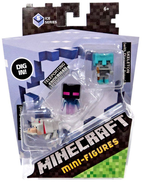 Minecraft Ice Series 5 Wolf, Teleporting Enderman & Skeleton with Diamond Armor Mini Figure 3-Pack