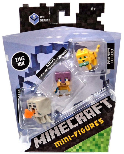 Minecraft Ice Series 5 Attacking Ghast, Steve & Ocelot with Fish Mini Figure 3-Pack