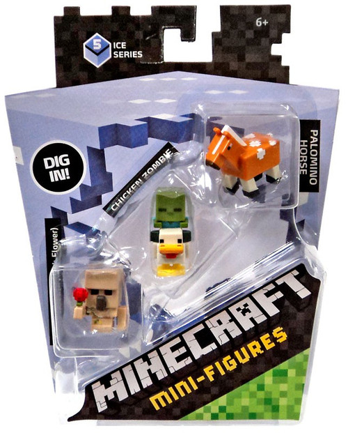 Minecraft Ice Series 5 Iron Golem, Chicken Zombie & Palomino Horse Mini Figure 3-Pack