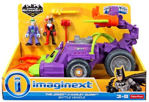 Fisher Price DC Super Friends Imaginext Joker & Harley Quinn Battle Vehicle Figure Set