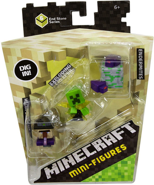 Minecraft End Stone Series 6 Potion Drinking Witch, Exploding Creeper & Endermites Mini Figure 3-Pack