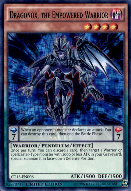 YuGiOh 2016 Mega-Tin Mega Pack Super Rare Dragonox, the Empowered Warrior CT13-EN006 [Yugi Tin]