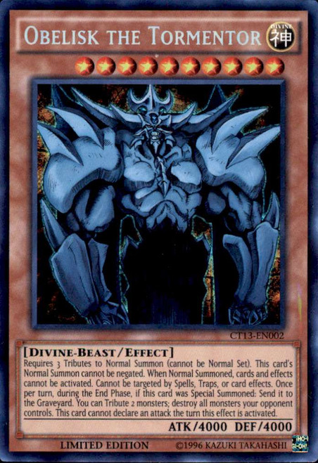 YuGiOh 2016 Mega-Tin Mega Pack Secret Rare Obelisk the Tormentor CT13-EN002 [Kaiba Tin]