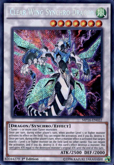 YuGiOh 2016 Mega-Tin Mega Pack Secret Rare Clear Wing Synchro Dragon MP16-EN022