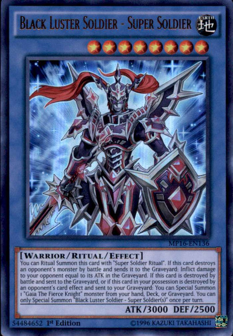 YuGiOh 2016 Mega-Tin Mega Pack Ultra Rare Black Luster Soldier - Super Soldier MP16-EN136