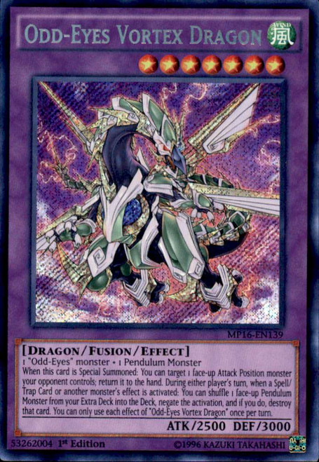 YuGiOh 2016 Mega-Tin Mega Pack Secret Rare Odd-Eyes Vortex Dragon MP16-EN139