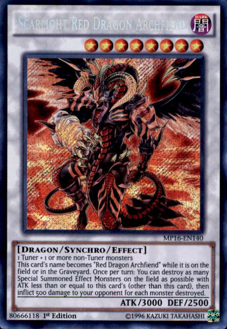 YuGiOh 2016 Mega-Tin Mega Pack Secret Rare Scarlight Red Dragon Archfiend MP16-EN140