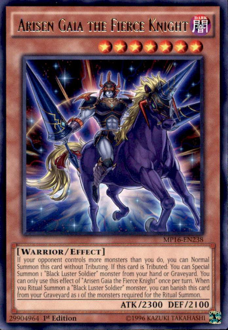 YuGiOh 2016 Mega-Tin Mega Pack Rare Arisen Gaia the Fierce Knight MP16-EN238