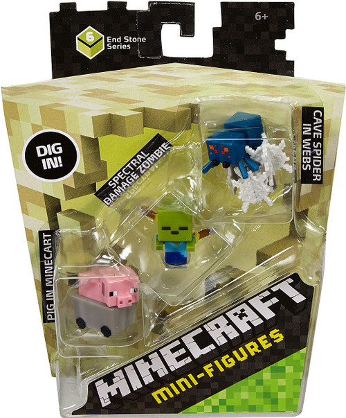 Minecraft End Stone Series 6 Pig in Cart, Spectral Damage Zombie & Cave Spider in Webs Mini Figure 3-Pack