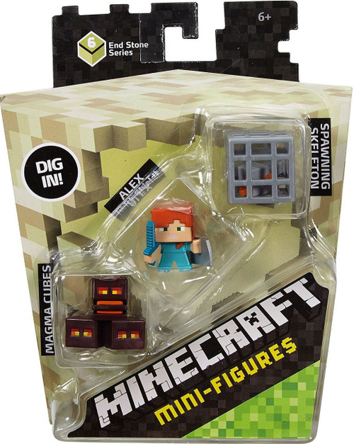 Minecraft End Stone Series 6 Magma Cubes, Alex with Shield & Spawning Skeleton Mini Figure 3-Pack