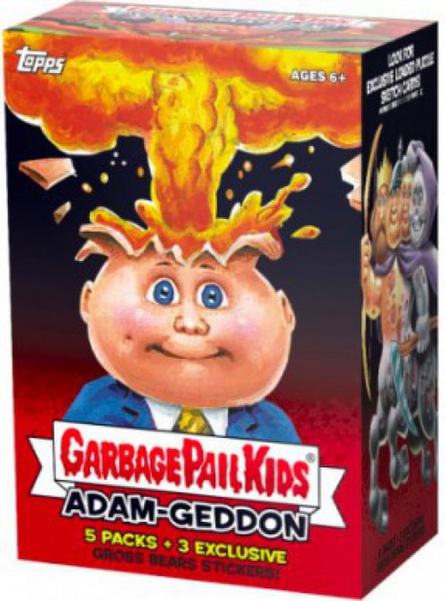 Garbage Pail Kids Topps 2017 Adam-Geddon Trading Card BLASTER Box [5 Packs + 3 Gross Bear Stickers]