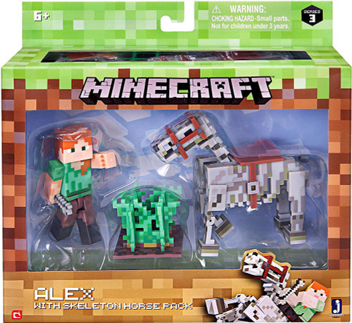 Minecraft Series 3 Alex With Skeleton Horse Action Figure Set