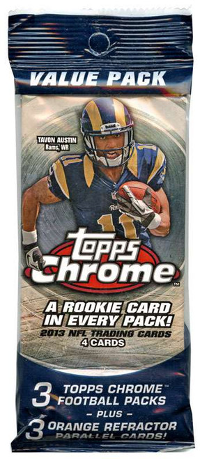 NFL Topps 2013 Chrome Football Trading Card VALUE Pack [3 Packs + 3 Refractor Cards! Rookie in Every Pack!]