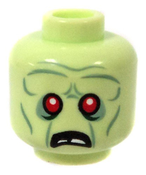 Green Zombie Head Minifigure Head [Loose]