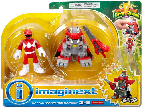 Fisher Price Power Rangers Imaginext Mighty Morphin Battle Armor Red Ranger Figure Set