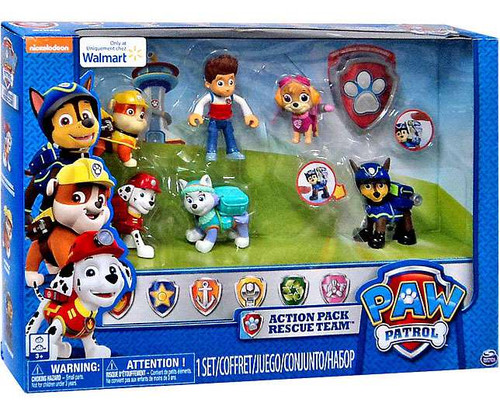 Paw Patrol Action Pack Rescue Team Marshal, Everest, Ryder, Skye, Rubble & Chase Exclusive Figure 6-Pack [Damaged Package]