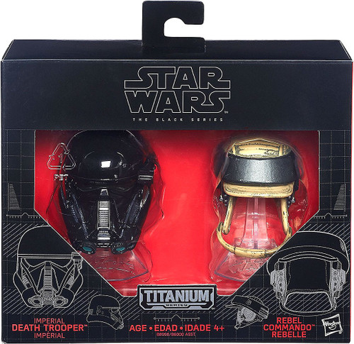 Star Wars Black Titanium Imperial Death Trooper & Rebel Commando 2-Inch Diecast Helmet 2-Pack