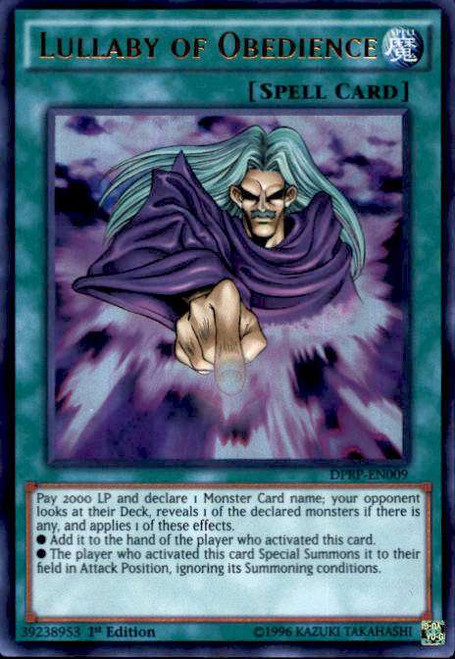 YuGiOh Rivals of the Pharaoh Duelist Pack Ultra Rare Lullaby of Obedience DPRP-EN009