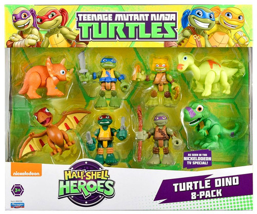 Teenage Mutant Ninja Turtles TMNT Half Shell Heroes Turtle Dino Action Figure 8-Pack