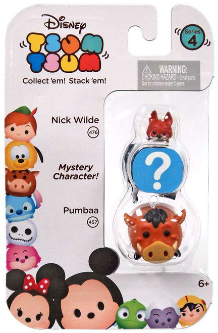 Disney Tsum Tsum Series 4 Nick Wilde & Pumbaa 1-Inch Minifigure 3-Pack