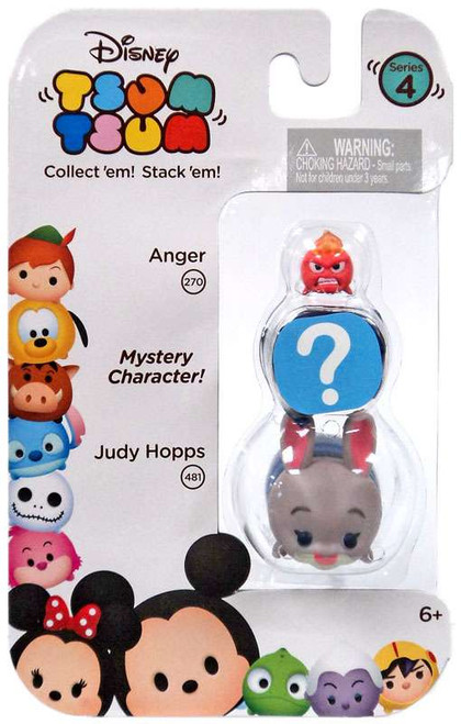 Disney Tsum Tsum Series 4 Anger & Judy Hopps 1-Inch Minifigure 3-Pack