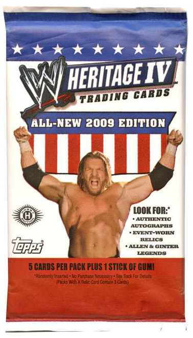 WWE Wrestling Topps 2009 Heritage IV Trading Card Pack [5 Cards]