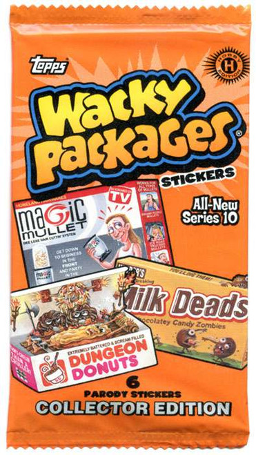 Wacky Packages Topps Series 10 Trading Card Sticker COLLECTOR HOBBY Pack [6 Cards!]