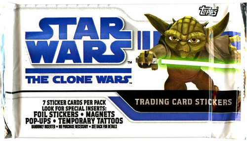 Star Wars The Clone Wars Animated Series Trading Card Pack [7 Sticker Cards!]