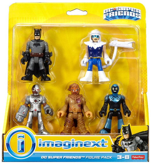 Fisher Price DC Super Friends Imaginext Batman, Cyborg, Blue Beetle, Scarecrow & Captain Cold 3-Inch Figure 5-Pack