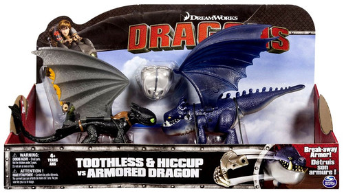 How to Train Your Dragon Race to the Edge Toothless & Hiccup vs Armored Dragon Action Figure 2-Pack