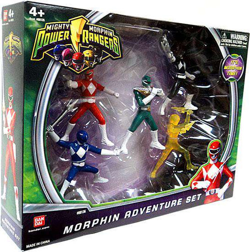 Power Rangers Mighty Morphin Morphin Adventure Set Action Figure 5-Pack [Red, Blue, Black, Green & Translucent Yellow Rangers]