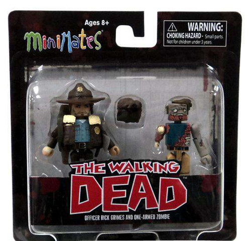 The Walking Dead Minimates Series 1 Officer Rick Grimes & One-Armed Zombie Minifigure 2-Pack [Damaged Package]