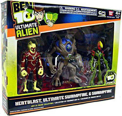 Ben 10 Ultimate Alien Heatblast, Swampfire & Ultimate Swampfire Action Figure 3-Pack [Damaged Package]