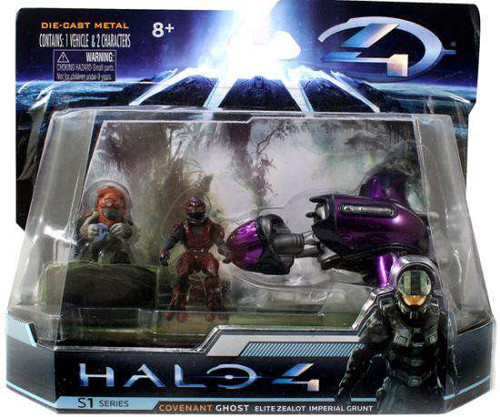 Halo 4 S-1 Series Ghost with Elite Zealot & Imperial Grunt 4-Inch Diecast Set #96528 [Damaged Package]