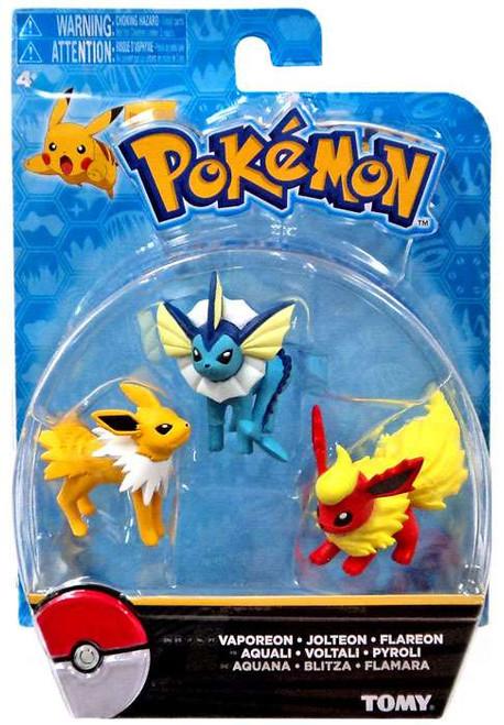 Pokemon Vaporeon, Jolteon & Flareon 2-Inch Mini Figure 3-Pack [Smaller Scale]