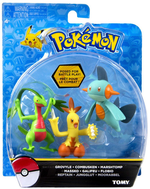 Pokemon Action Pose Grovyle, Combusken & Marshtomp 3-Inch Mini Figure 3-Pack