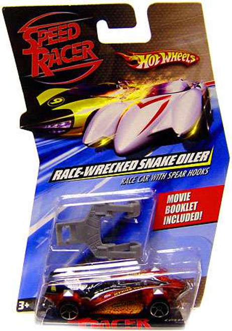 Speed Racer Hot Wheels Race-Wrecked Snake Oiler Race Car with Spear Hooks Die-Cast Car