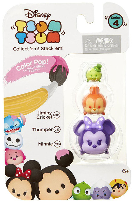 Disney Tsum Tsum Series 4 Color Pop! Jiminy Cricket, Thumper & Minnie 1-Inch Minifigure 3-Pack