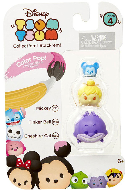 Disney Tsum Tsum Series 4 Color Pop! Mickey, Tinker Bell & Cheshire Cat 1-Inch Minifigure 3-Pack