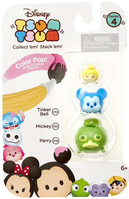 Disney Tsum Tsum Series 4 Color Pop! Tinker Bell, Mickey & Perry 1-Inch Minifigure 3-Pack