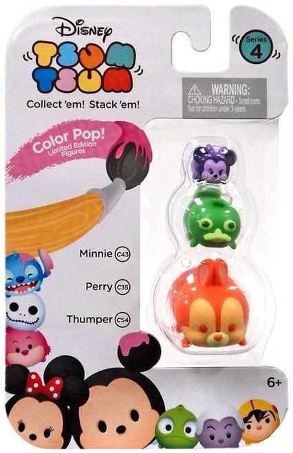 Disney Tsum Tsum Series 4 Color Pop! Minnie, Perry & Thumper 1-Inch Minifigure 3-Pack