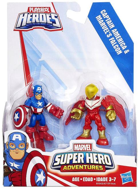 Playskool Heroes Super Hero Adventures Captain America & Marvel's Falcon Action Figure 2-Pack [2016]