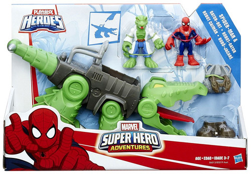 Marvel Playskool Heroes Super Hero Adventures Spider-Man & Gator-Bot Action Figure Set