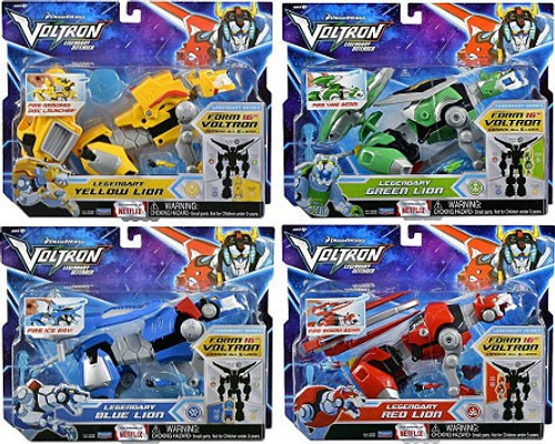 Voltron Legendary Defenders Yellow, Green, Red & Blue Set of 4 Combinable Lions Action Figures