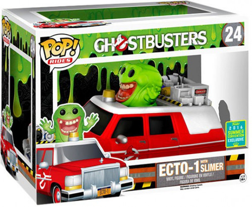 Funko Ghostbusters POP! Movies ECTO-1 with Slimer Exclusive Vinyl Figure Set