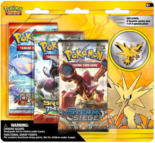 Pokemon Trading Card Game XY Zapdos Pin Collection [3 Booster Packs & Pin]