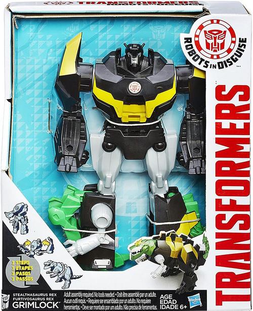 "Transformers Robots in Disguise Hyper Change Heroes Stealthasaurus Rex Grimlock 10"" Action Figure [3-Step Changer]"